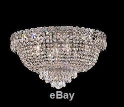 World Capital Empire 20 9 Light Flush Mount Crystal Chandelier Lighting Chrome