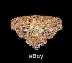 World Capital Empire 20 9 Light Flush Mount Crystal Chandelier Lighting Gold