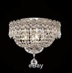 World Capital Empire 4 Light Flush Mount Crystal Chandelier Light Chrome