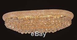 World Crystal Bangle 18 Light Oval Crystal Chandelier Flush Mount Light Gold