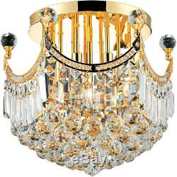 World Crystal Crown A 16 6 light Crystal Flush Mount ceiling Light Gold