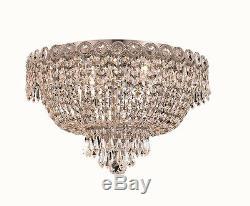 World Crystal Empire 16 Crystal Flush Mount Chandelier Ceiling Light, Chrome