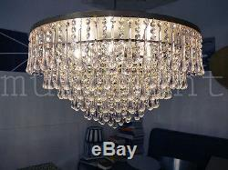 XXL Crystal Drop Flushmount Ceiling Fixture by Palwa 1960s brass clear
